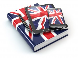 English learning. Mobile devices, smartphone, tablet pc and book . 3d
